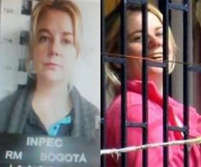 Cassie's mug shot (L) and Cassie pictured at the prison gates (R).