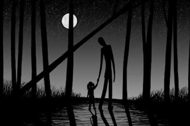 An internet depiction of Slenderman.