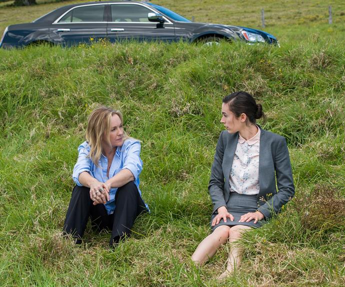 Rebecca Gibney and Geraldine Hakewill as Lola and Chelsea in the first season of *Wanted*.