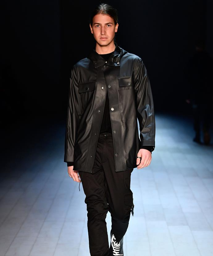 Christian Wilkins, whose father is entertainment reporter Richard Wilkins, walked the runway for the Justin Cassin show.