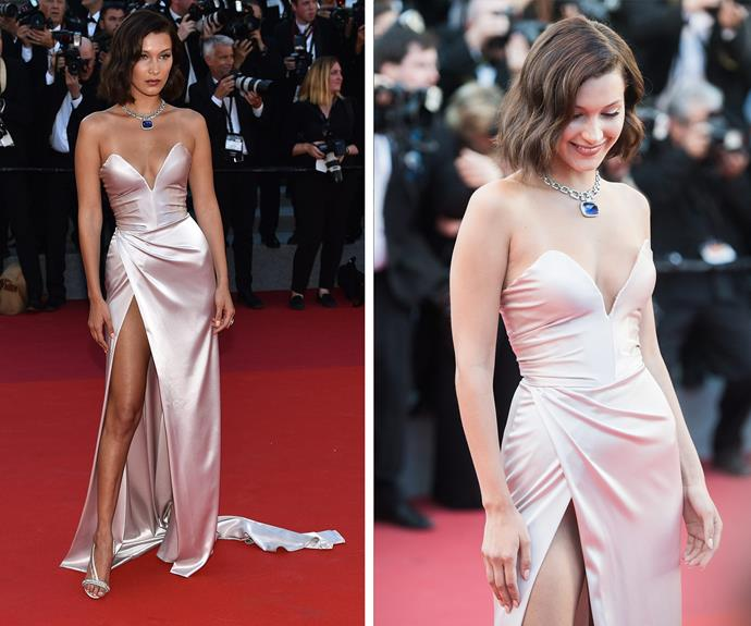 Bella Hadid works it in this beautiful pale pink satin gown by Alexandre Vauthier. How do you complete such a fab look? With a cushion cut 180-carat sapphire stone set with over 28 carats of pavé diamonds. Obviously.