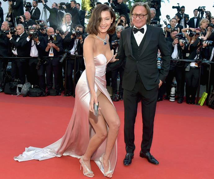 The 20-year-old, who brought her dad Mohamed Hadid, suffered a few wardrobe malfunctions, flashing her underwear to the cameras.
