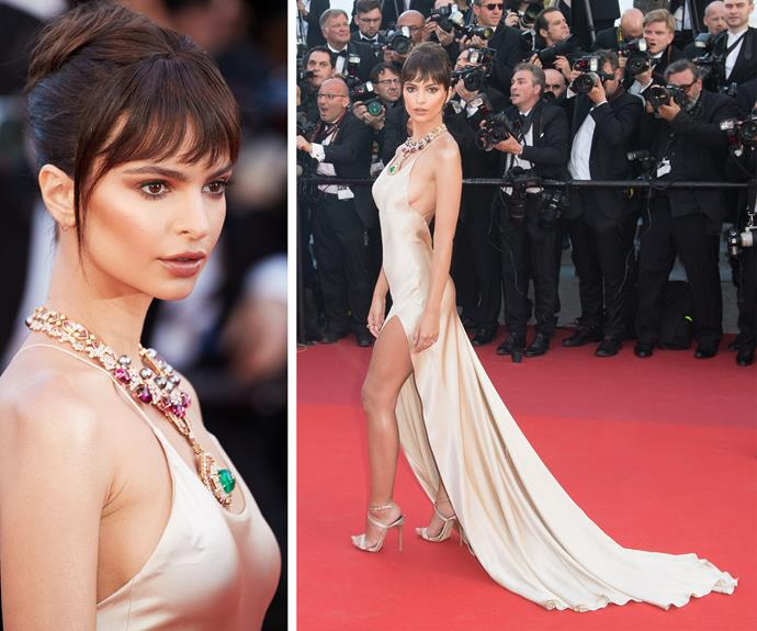 Emily Ratajkowski, 25, is breathtaking in sultry silk. With an Audrey Hepburn-inspired up do, Emily completed her outfit with a necklace befitting for royalty.