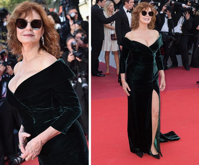 Clear the stage, the Queen of Cannes Susan Sarandon is here! And the 70-year-old looks sublime. Her sunglasses deserve their own moment in the sun.