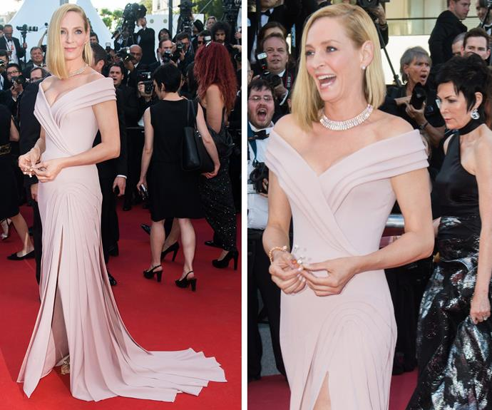 Uma Thurman is clearly having the best Cannes experience.