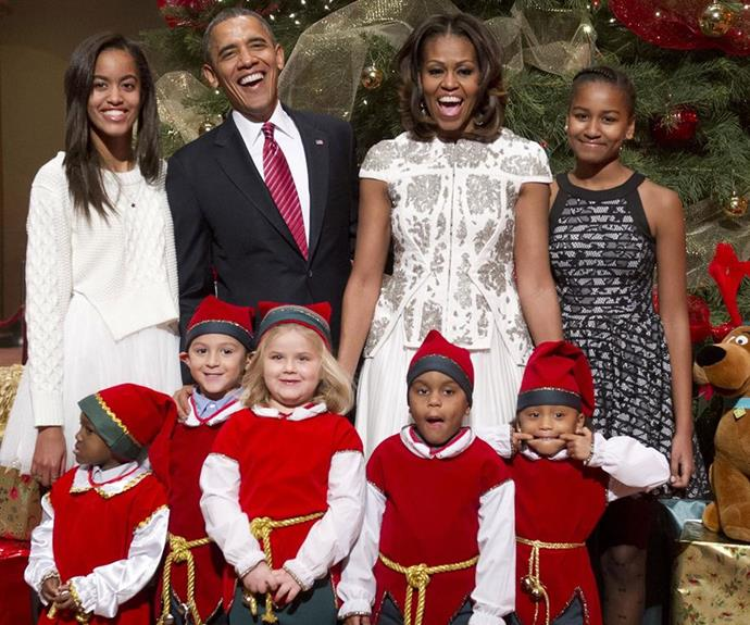 The family during a White House Christmas.