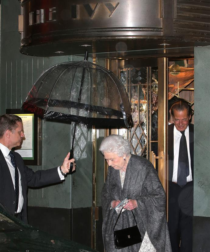 Her Majesty always has a matching brolly on hand.