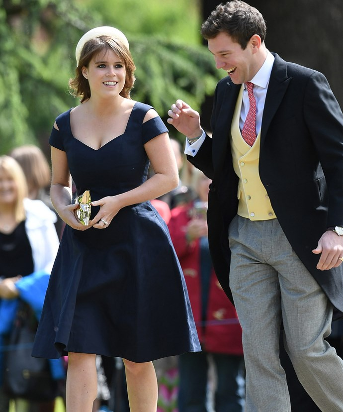 Princess Eugenie, with boyfriend Jack Brooksbank, was the first royal to arrive.