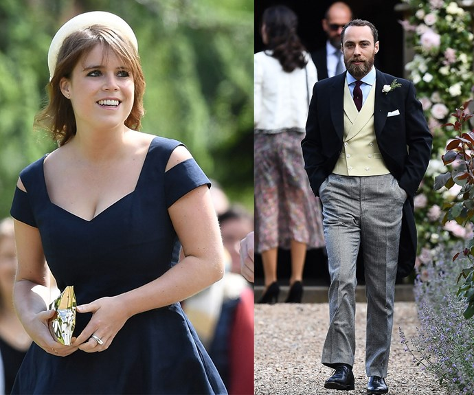 Eugenie looked elegant in a navy dress while brother of the bride, James Middleton, kept things classic in a three-piece suit.