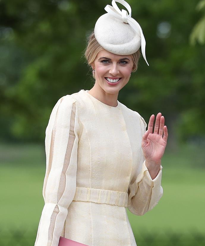 Let the hat watching begin! Donna Air, who is dating Pippa's brother James, opted for a cream-hued ensemble.