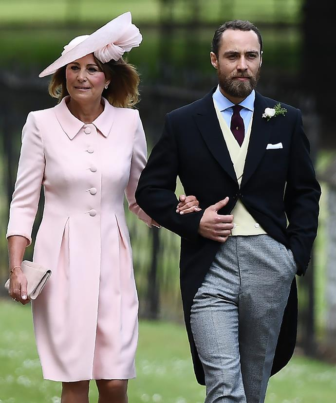 Mother of the bride Carole Middleton was escorted into the ceremony on the arm of her son, James.