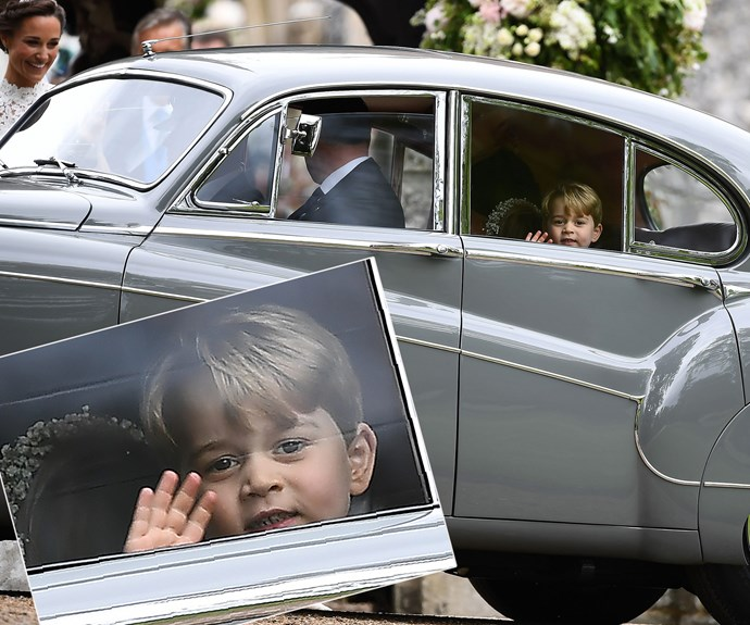 Prince George gives a royal wave as he leaves.