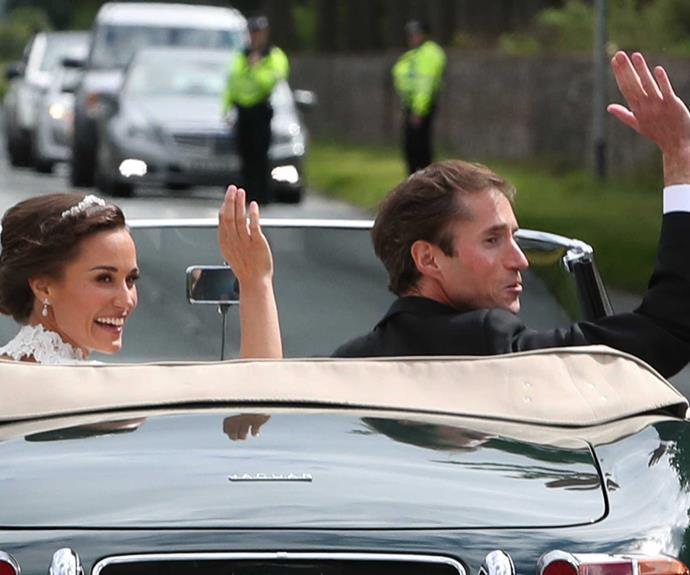 Pippa and James try out their own version of a royal wave.