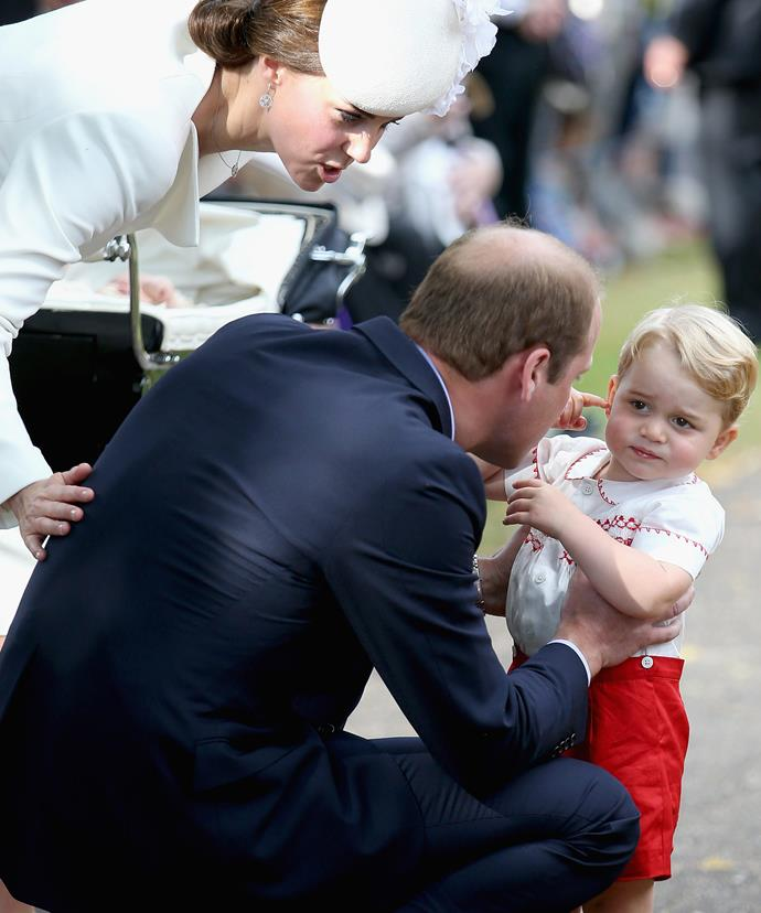 Who can forget when Wills and Kate had to pull George into line during Charlotte's christening.