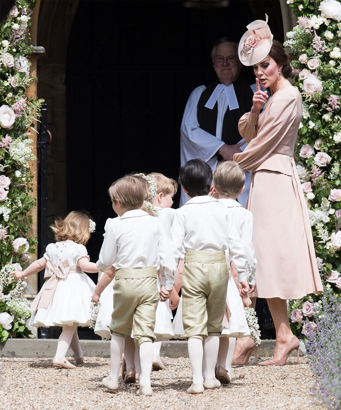 The Duchess of Cambridge wrangles the little ones involved in her sister Pippa Middleton's wedding.