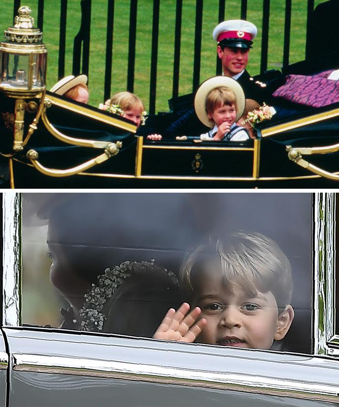 Royal carriage waves may be something we see at this year's trooping, for now George has his hand ready for the car window.