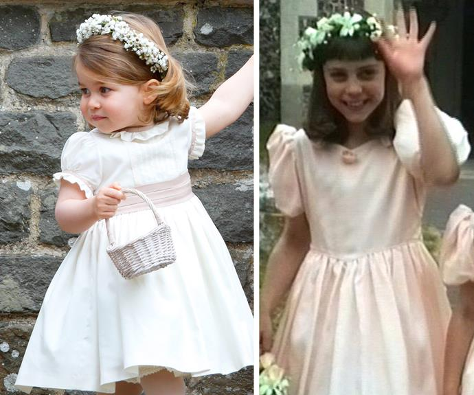 "Charlotte looks so much like mum Kate when she was a flower girl at [Gary Goldsmith](http://www.nowtolove.com.au/royals/british-royal-family/kate-and-pippa-middleton-were-gary-goldsmiths-bridesmaids-33489|target=""_blank"") and Miranda Foote's nuptials back in 1991. [Pic Credit: SWNS.com]"