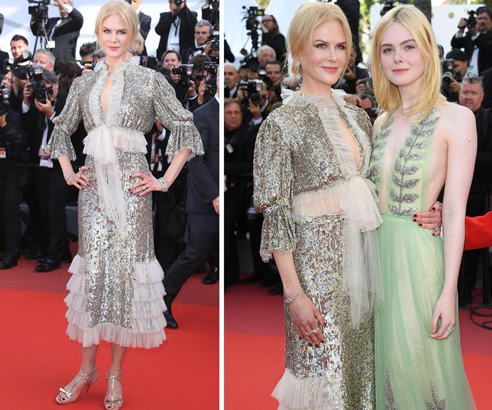 The Queen of Cannes (as she has been dubbed by the press) posed next to co-star Elle Fanning, who was wearing a mint green Gucci gown for the occasion.