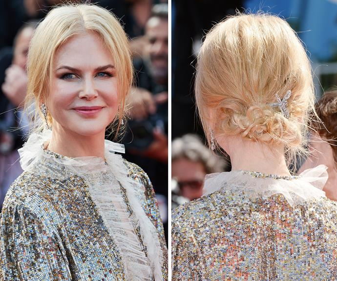 Nicole styled her blonde tresses in a stylish up-do, and secured it with a jewelled barrette.
