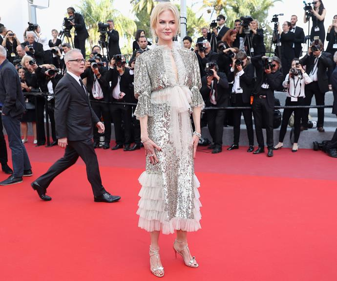 Nicole Kidman sparkled in a Rodarte sequin dress at the premiere of her new movie *How to Talk to Girls at Parties*.