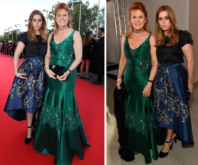 Sarah, Duchess of York, and her daughter Princess Beatrice (who arrived straight from Pippa Middeton's wedding) both wore jewel-toned gowns, fitting for royalty to a charity fashion parade at Cannes.