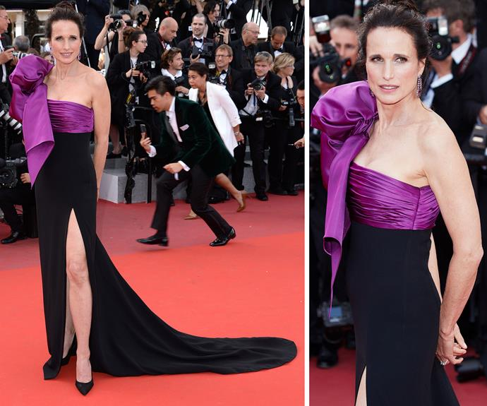 Andie MacDowell chose a dramatic bright purple and black gown for the red carpet premiere of *How to Talk to Girls at Parties*.