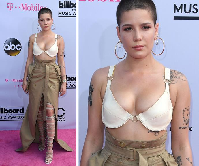 """Singer Halsey divided fans opinion with this look but her stylist has since defended her bold choice. """"Everything we do isn't necessarily for everybody, but fashion understands it and *Vogue* understands it and that's the most important thing to me,"""" stylist Maeve Reilly explained to *Billboard*."""