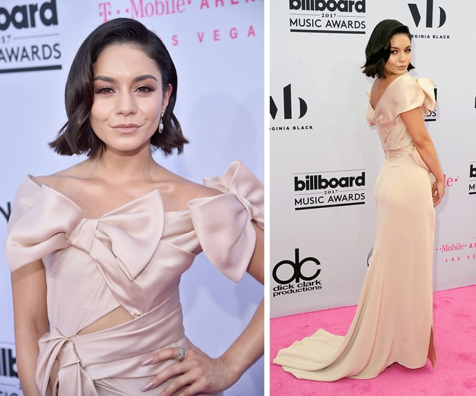 Host Vanessa Hudgens is all tied up in this soft pink dress.