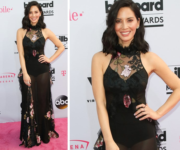 Olivia Munn oozes elegance in this sheer frock.
