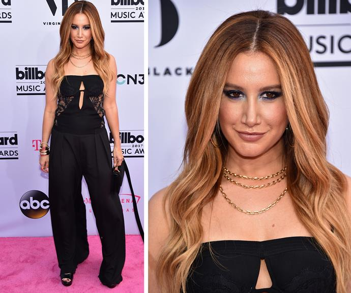 Ashley Tisdale proving jumpsuits still have a place on the red carpet.