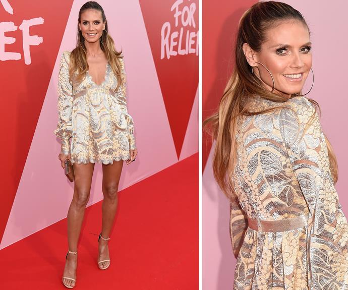 Heidi Klum wore Marc Jacobs to the Cannes charity fashion to support friend and model Naomi Campbell.