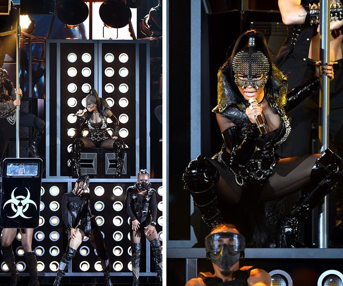 Nicki Minaj kicked the show off with a very energetic set.