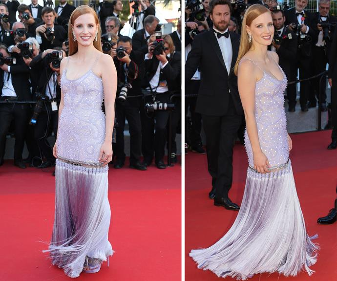Jessica Chastain wore a lavender Givenchy gown, complete with a metallic tassel hem that deserves a shimmy!
