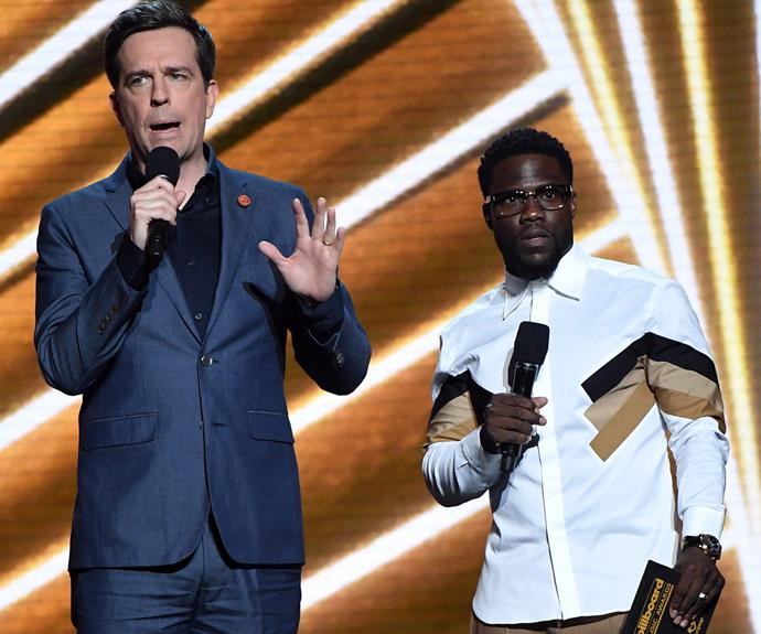 Ed Helm and Kevin Hart take to the stage.