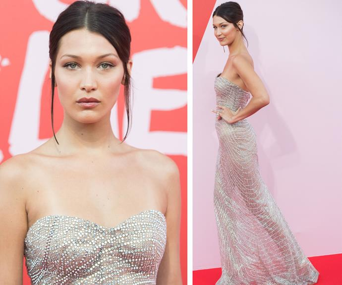 Bella Hadid once again turned heads in this sheer, grey, figure-skimming gown that left little to the imagination. Thankfully the model can pull off such a tricky colour!
