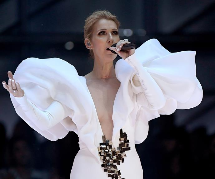Celine Dion and some very voluminous sleeves have taken to the stage!