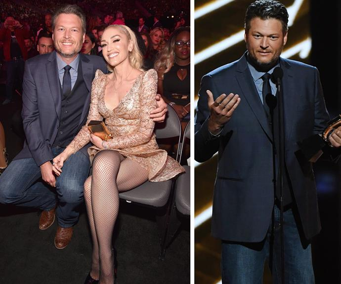 """Blake Shelton may have taken home a gong but it was his dedication to girlfriend Gwen Stefani that made her the real winner. """"I felt I was the luckiest guy in the room anyway because Gwen was with me…"""""""