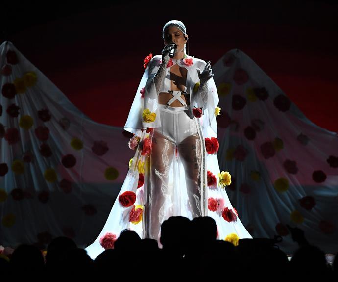 Halsey with her pom-pom coat.