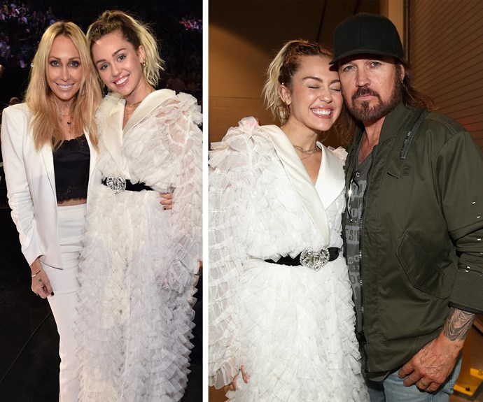 Miley gives her folks some Cyrus love.