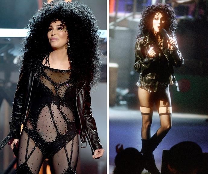Taking us back to 1989! Cher literally is *Turning Back Time* with her performance... And the outfit still fits like a glove. All that's missing is the cannon.