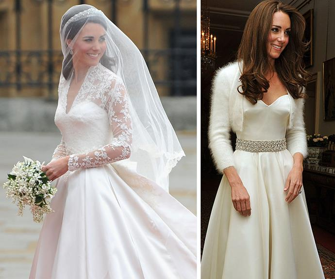 Kate famously changed her outfit for her 2011 nuptials.