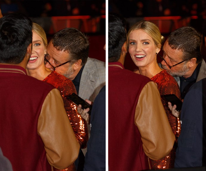Bit hungry, Rusty? The actor kisses his co-star Annabelle Wallis' neck.