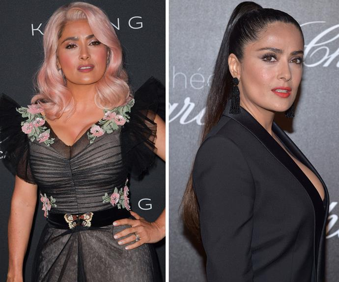 "[Salma Hayek](http://www.nowtolove.com.au/tags/Salma-Hayek|target=""_blank"") has had a complete makeover with a pastel pink wig! The actress is usually photographed with her natural, long brunette hair, but we love her rocking these fairy-floss strands."