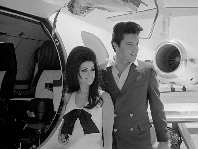 Newlyweds Elvis and Priscilla Presley board their private jet after their Las Vegas wedding.