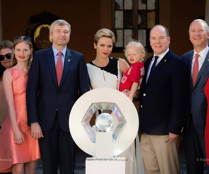 "While his twin sister, Princess Gabrielle, was not in attendance, the two-year-old was clearly having the best time, with one onlooker telling *People*, ""Jacques was really interested in touching the trophy."""