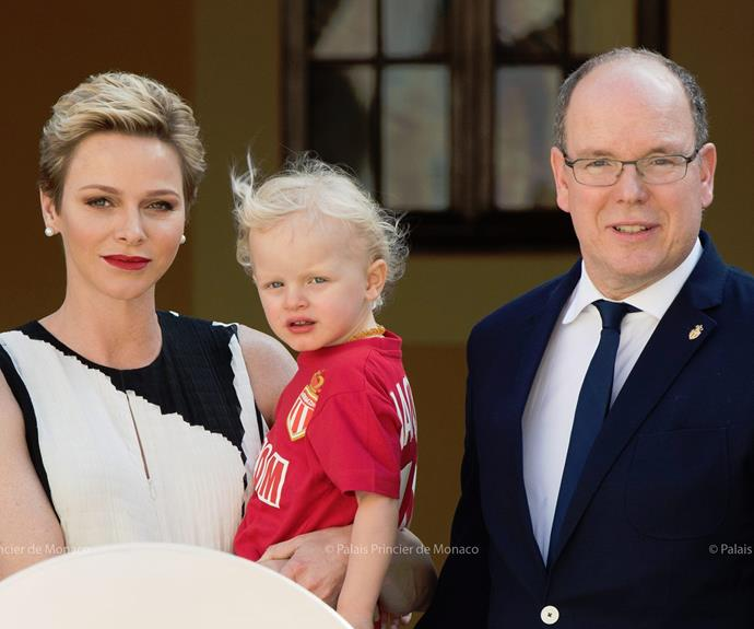 Prince Jacques joined his parents Princess Charlene and Prince Albert to a garden party to celebrate the nation's record eighth French football league championship.