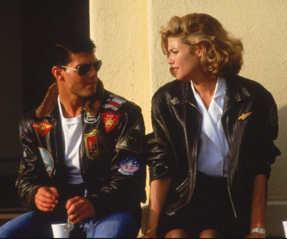Tom Cruise and Kelly McGillis in Top Gun.