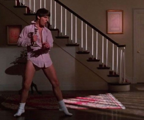 Tom, pictured during the *Risky Business* dance scene, has been in Australia to promote his latest film *The Mummy*.
