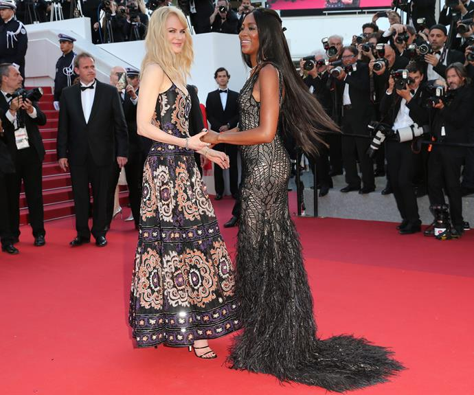 When Hollywood royalty collides with the catwalk queen: Just Nic and Naomi Campbell, casually hanging in Cannes.