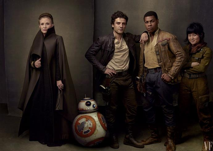 Carrie and her Star Wars co-stars in *Vanity Fair*. Photo courtesy of *Vanity Fair*.